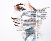 girl portrait watercolor digital artwork