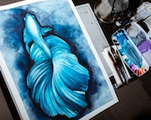 watercolor blue fish