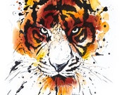 tiger: watercolor digital artwork download
