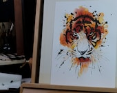 Original watercolor panting  -  tiger