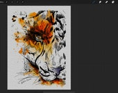 Printing Digital Tiger Watercolor Illustration