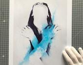 Fine Art Print, Digital Watercolor Painting Portrait