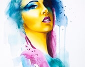 girl portrait watercolor digital artwork