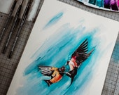 swallow watercolor painting