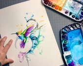 original watercolor abstract hummingbird portrait