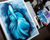 watercolor blue fish