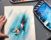 ORIGINAL Bird Swallow Watercolor Painting
