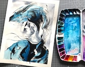 ABSTRACT PORTRAIT original watercolor painting