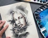 ORIGINAL watercolor portrait painting