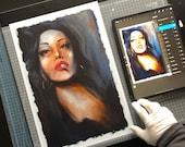 Fine Art Print, Digital Oil Painting Portrait