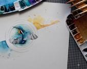 KINGFISHER original watercolor painting