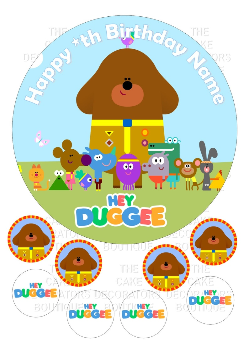 1 Hey Duggee 7 Inch Edible Image Cake /& Cupcake Toppers// Party// Birthday