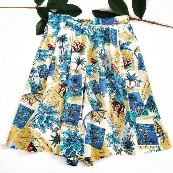Vintage 80s Leslie Fay Tropical Resort Wear Shorts
