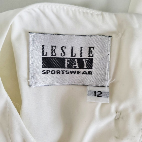 Vintage 80s Leslie Fay Ivory Pleated Blouse Sz 12 - image 7