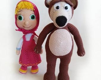 Amigurumi Crochet Pattern Masha And The Bear The Russian Girl ... | 270x340