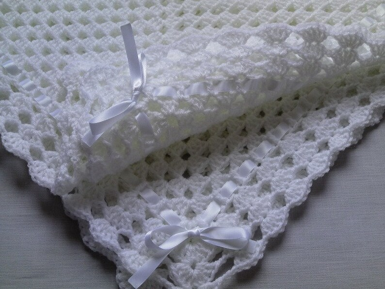 gift baby shower Crochet PATTERN Baby Blanket christening baptism baby white afghan baby shower PDF file #32 Hat and Booties Set