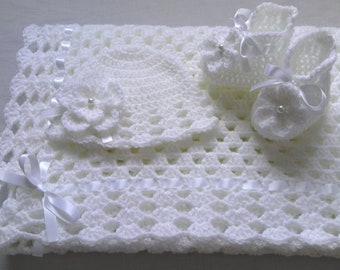 Crochet PATTERN Baby Blanket, Hat and Booties Set, PDF file #32, gift baby shower, christening baptism baby white afghan baby shower