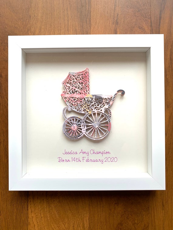 Baby personalised pictures in frames, perfect for a newborn gift, baby shower or 1st birthday, can find any colours