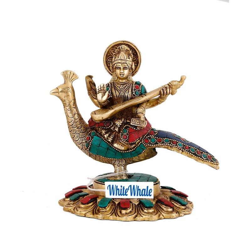 Hindu Goddess Sitting on Swan Idol Sculpture Home Decor Whitewhale Goddess Saraswati Brass Statue
