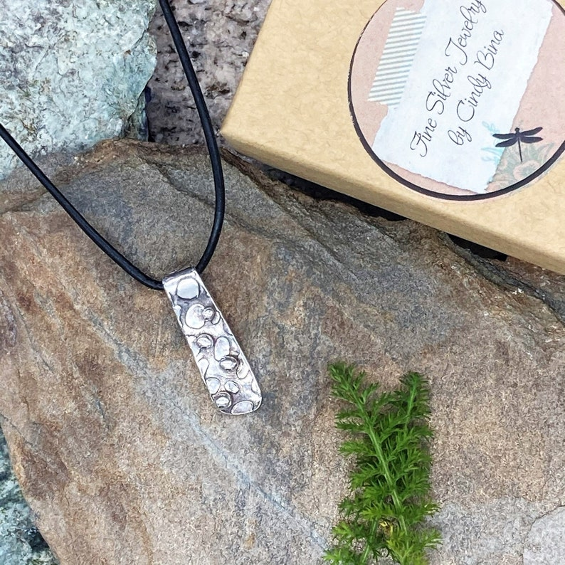 Pebble shoreline PMC fine silver nature-inspired hand-crafted necklace by Cindy Bina
