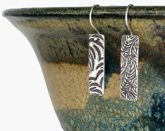 Fern, reversible, nature-inspired, fine silver (PMC), hand-crafted bar earrings by Cindy Bina