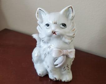 Vintage Cat Figurine, Mid-Century Japan, White, Pink Bow Gold Trim animal figure