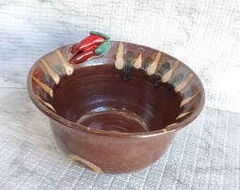 """Salsa Bowl, Vintage Art Pottery with Chili Pepper, 5"""" Dip Snack Appetizer Dish"""