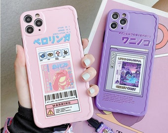 Aesthetic Japanese Anime Phone Case with Lanyard for iPhone 11 12 Pro Max | iPhone X XS XR | iPhone 6s 7 8 Plus
