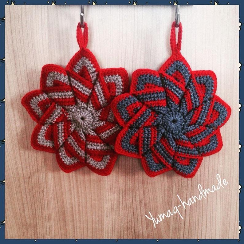 Star Shaped Hot Pad Kitchen Decor Handmade Pot Holder Crocheted Colorful Oven Mitt