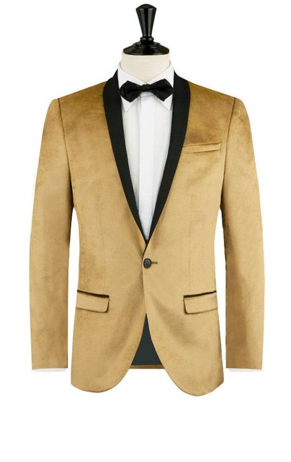 Tuxedo Jackets Mens Golden Velvet Blazers Groom Wear Wedding Jackets Dinner Party Wear Blazers Slim Fit Jackets
