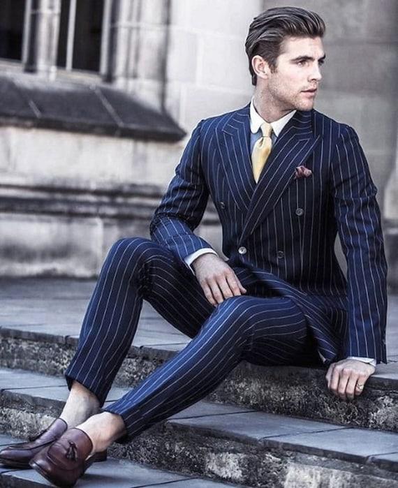 Men Suits Pinstripe Suit Suits For Men Blue Men Suit Blue Etsy