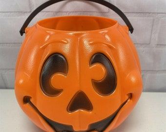 made by Grand Venture Vintage Black Jack-o-Lantern with Orange Eyes and Mouth 1997~
