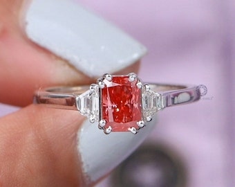 Red Radiant Lab Grown Diamond Engagement Ring/ Trapezoid Diamond Three Stone Ring/ Fancy Colored CVD Diamond Ring For Gift/ Anniversary Ring