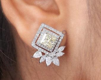Yellow Princess Diamond Cluster Halo Earrings / Lab Grown Diamond Bridal Earrings / Pear And Marquise Diamond Earrings / CVD Diamond Earring