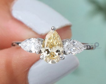 Yellow Pear Diamond Three Stone Ring/ Yellow Lab Grown Diamond Ring/ 14K White Gold Pear Diamond Engagement Ring/ Man-Made CVD Diamond Ring