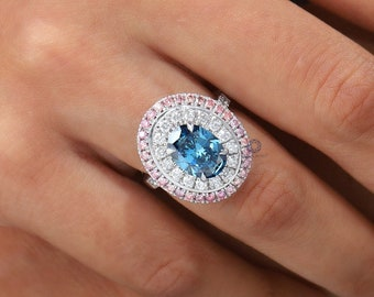 Blue Oval Diamond Double Halo Ring / Lab Grown Diamond Engagement Ring / Pink CVD Round Diamond Halo Ring / Oval Diamond Ring Gift For Women