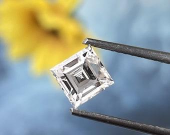 0.85 CT Carre Cut Diamond/ Carre Lab Grown Diamond Ring/ 10K Yellow Gold Carre Diamond Hidden Halo Ring/ Antique Cut HPHT Loose Diamond