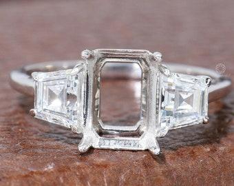 Emerald Diamond Semi-Mount Ring/ Lab Grown Diamond Ring/ 10K White Gold Side Trapezoid Diamond Three Stone Ring/ Conflict Free HPHT Diamond