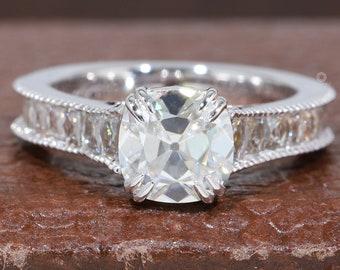 Old Mine Cushion Diamond Filigree Ring/ Old Cut Diamond Ring/ 14K White Gold Cushion Diamond Engagement Ring/ Old Cut HPHT Diamond Ring
