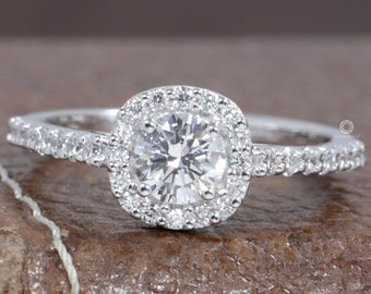 0.50 CT Round Diamond Halo Ring/ Round Lab Grown Diamond Ring/ 18K White Gold Round Diamond Wedding Ring/ Conflict Free CVD Diamond Ring