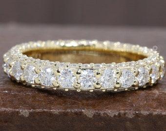 Round Diamond Pave Set Eternity Band/ HPHT Diamond Band/ 14K Yellow Gold Round Diamond Matching Band/ Conflict Free HPHT Diamond Ring