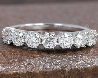 7 Stone OEC Round Diamond Ring/ Old Cut Diamond Ring/ 10K White Gold Old European Round Diamond Eternity Ring/ Man-Made HPHT Diamond Ring