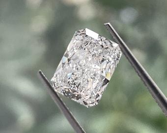 3.01 Ct E/VVS2 Radiant Cut Lab Grown Diamond/ 14K White Gold Radiant Diamond Ring/Radiant CVD Diamond Ring/Eco Friendly Diamond Ring for Her
