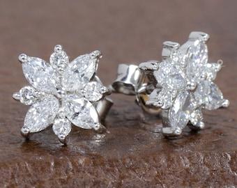 Marquise Diamond Cluster Earrings/ Lab Grown Diamond Earrings/ 18K White Gold Round Diamond Studs Earrings/ Conflict Free HPHT Diamond Studs