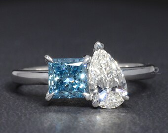 Pear & Princess Diamond Toi Et Moi Ring / Lab Grown Diamond Women Ring / 18K White Gold CVD-HPHT Lab Diamond Ring / Ring Gift For Girlfriend