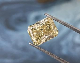 4.03 Carat Yellow Radiant Diamond/ Yellow CVD Diamond Ring / 14KT White Gold Diamond Engagement Ring/ Conflict Free Diamond Engagement Ring