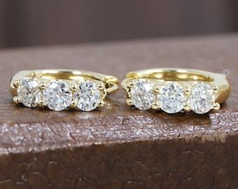 3.50 MM Each OEC Round Diamond Earrings/ Old Cut Diamond Earrings/ 14K Yellow Gold OEC Round Diamond Dainty Earrings/ Eco-Friendly Diamond