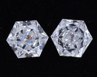 1.00 CT Hexagon Lab Grown Diamond/ Antique Shape Pair Diamond/ 10K White Gold Hexagon Diamond Halo Stud Earrings/ Conflict Free Diamond Stud