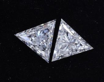 0.60 CT Triangle Cut HPHT Diamond/ Lab Grown Antique Shape Diamond/ 14K White Gold Triangle Diamond Stud Earrings/Conflict Free Diamond Stud
