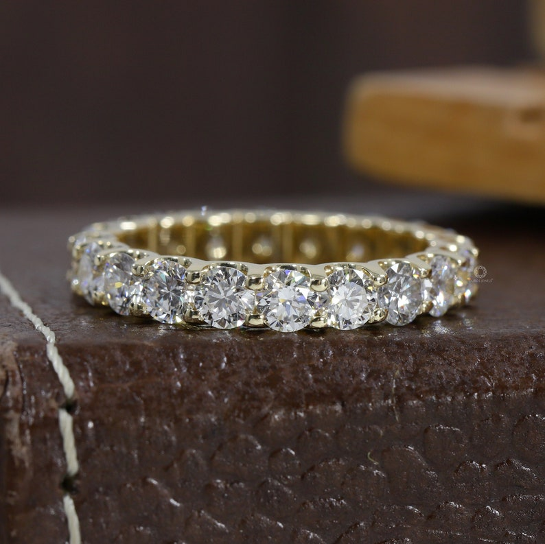 14k Solid Yellow Gold Eternity Band/ Stackable Ring/ Wedding image 0